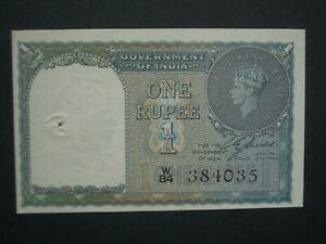 ** Superb** 1940 India 1 Rupee** Crisp 'GEF'  Banknote**