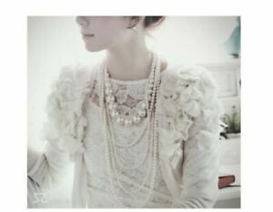 MULTI-STRAND TIERED WHITE  TWO SIZED GLASS PEARL NECKLACE VINTAGE STYLE WEDDING
