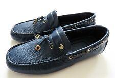 STEFANO RICCI Blue Grain Leather Silver Eagle Moccasins Shoes 10 US 43 Euro 9 UK