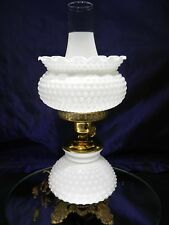 Vintage Hobnail White Milk Glass and Brass Table Lamp ~3 stage light~