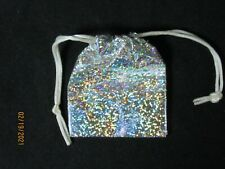 4 Silver Sparkle Plastic Jewelry Gift Bags Pouches Drawstring Jewelry Stones