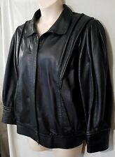 Size 16 MODA PELLE womens 80's zipper leather bomber jacket black vintage