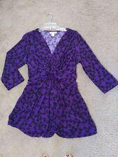 MOTHERHOOD MATERNITY Size XL Dress Top Purple w/ Butterflies 3/4 Sleeves Empire