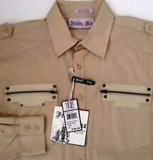 Franky Max Shirt Special Cut Embroidered Beige  Cotton Button Down L NWT
