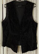 """DOROTHY PERKINS Vintage Black Crushed Velvet Waistcoat UK14 40"""" Bust Vest Gilet"""