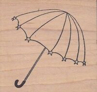 "umbrella rubbermoon Wood Mounted Rubber Stamp 2 x 2""  Free Shipping"