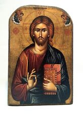 Icon of Jesus Christ, Greek Russian Christian Orthodox, Made of Wood MP2