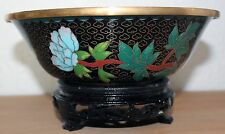 China Cloisonné Schale / Bowl Japan carved Messing old chinese floral Woodstand