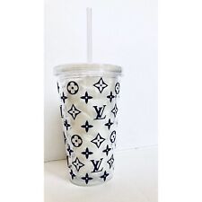 Hard Plastic Reusable Cup / Tumbler With LV Design UK 16oz with Straw