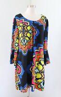 Aryeh Black Colorful Medallion Geometric Print Knit Sweater Tunic Dress 2x 2XL