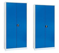 2er Set Stahlschrank Lagerschrank Metallschrank Werkzeugschrank Schrank blau NEU