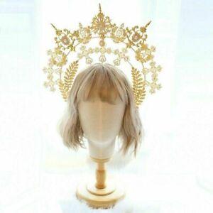 Vintage Lolita Girl's Golden Halo Goddess Headdress Headband Hair Accessory