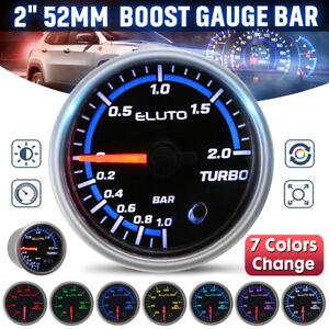 2'' 52mm Universal Car 7 Color Diaplay Bar Turbo Boost Gauge Pressure Meter BAR