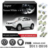 8x For Nissan JUKE 2011-2016 Xenon White Car Interior LED Light Package Kit 12V