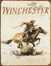 Winchester Logo Vintage Hunting TIN SIGN Metal Gunshop Cabin Lodge Wall Poster