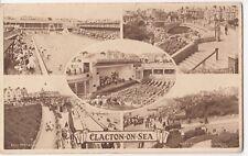 Essex; Clacton On Sea Multiview PPC, Unposted, c 1930s, Bridge, Pier, Promenade