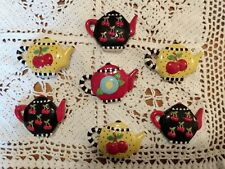 Set of 7 Ceramic Mary Engelbreit  Collectible Teapot Cherries Magnets
