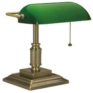 Antique Bronze Desk Lamp Green Glass Shade Traditional Home Office Lampshade