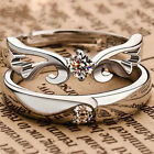 1 Paar Damen Herren Silber Plattiert Kristall Ring Partnerringe Verlobungsring