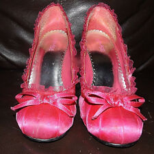 """WOMENS PULSE SHOES-HOT PINK-4"""" HEELS-BABYDOLL-LACE-SIZE 8 1/2"""