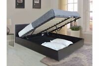 leather bed with mattress option non storage or ottoman storage 4ft6 5ft black