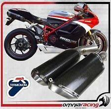 Termignoni D113 Terminali Scarico Race 94 Fetta Salame Carbonio Ducati 848 08>13