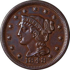1848 Large Cent Choice AU Great Eye Appeal Nice Strike