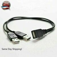 USB 2.0 Female to 2 Dual USB Male Power Adapter Y Splitter Cable Connector AAA+