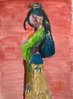 "ORIGINAL Abstract Disney Princess Mulan Acrylic Impasto Art Painting 12x16"""