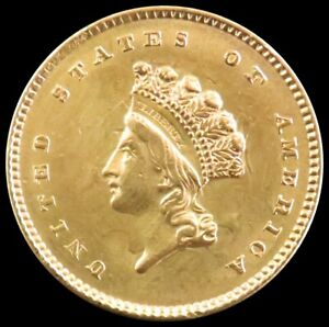 """1854 GOLD $1 DOLLAR TYPE II """"GHOST CLASHED DIE REVERSE"""" INDIAN PRINCESS COIN AU"""