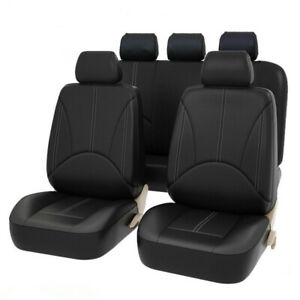 9PCS Luxury PU Leather Car Seat Covers Front&Rear Full Set for 5-Seats Car SUV