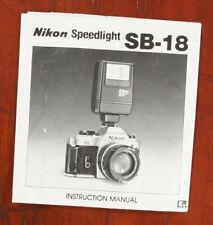 NIKON SPEEDLIGHT SB-18 INSTRUCTION MANUAL/132465