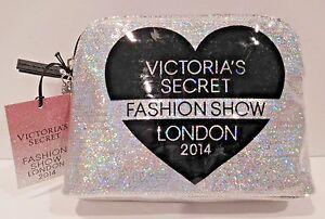 VICTORIA'S SECRET FASHION SHOW LONDON 2014 SILVER GLITTER WEDGE MAKEUP BAG NEW!