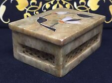 Vintage Marble Dressing Table Trinket Box With Inlaid Mother Of Pearl