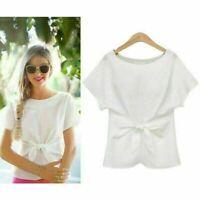 Hot Elegent Womens Ladies Short Sleeve Casual Chiffon Shirt Tops Blouse T-Shirt