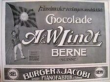 Originalwerbung Reklame A.W. Lindt Chocolade 1909 Burger & Jacobi Pianofabrik