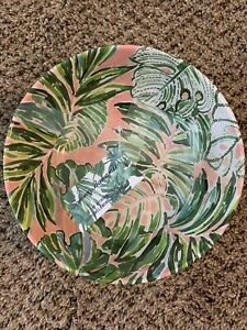 """Tommy Bahama Tropical Palm Leaves Melamine 8"""" Bowls 4 Pc Set Pink Green"""