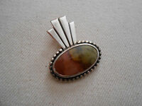 Vintage Handcrafted Sterling Silver  Agate Pendant   303009