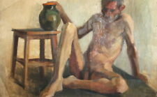 ANTIQUE REALIST OIL PAINTING NUDE MAN PORTRAIT