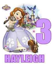 "Sofia the First Birthday / Name Iron On Transfer, 5x6""  for LIGHT Colored Fabric"