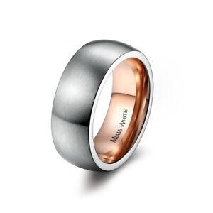 MIAMI WHITE Ring DIAGO Edelstahl silbern/rosé mattiert