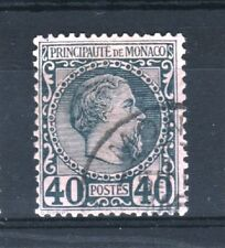 "MONACO STAMP TIMBRE YVERT 7 "" CHARLES III  40c BLEU S. ROSE "" OBLITERE TB T357"