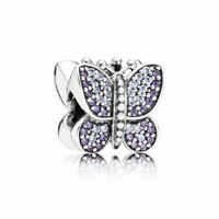 New Genuine Pandora Silver Purple Sparkling Butterfly Charm Bead -791257ACZ