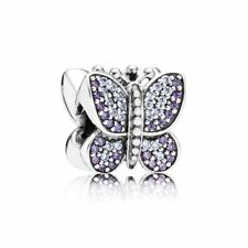 New Genuine Pandora Silver Purple Sparkling Butterfly Charm Bead -791257ACZ