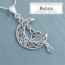 Celtic Knot Pentagram Moon, Triquetra & Rainbow Moonstone Pendant Wicca Pagan