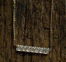 14K Yellow & White Gold Herringbone Chain Necklace with Diamond Accents (3.07g)