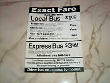 New York City Transit Nyc Bus Sign Exact Fare Token Ny Vinyl Nos Transit Decal
