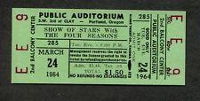 Original 1964 Four Seasons Frankie Valli Unused Concert Ticket Portland Oregon