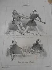 Litho Caricature 19ème Utilité du ceinturon élastique jour d'émeute et banquet