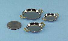 Sale Best Quality Dollhouse Miniature Set of 3 Chrome & Brass Serving Trays Zb10
